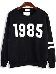 Round Neck Number Print Loose Sweatshirt