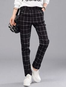 Elastic Waist Plaid Black Pant