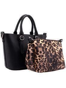 Black Belt Buckle PU Bag With Leopard Small Bag