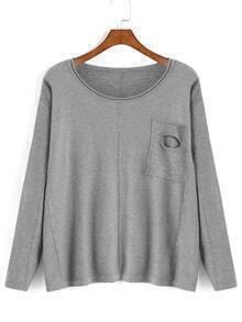 Ripped Pocket Grey Sweater