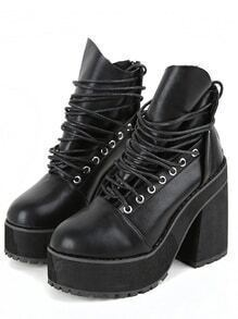 Black Lace Up Zipper Chunky Boots