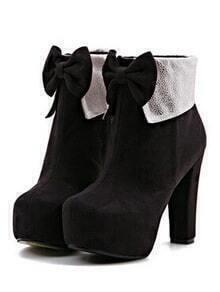 Black Zipper Bow High Heeled Boots