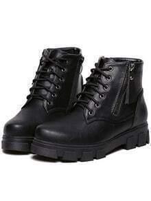 Black Lace Up Zipper PU Boots