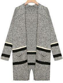 Striped Pockets Grey Coat