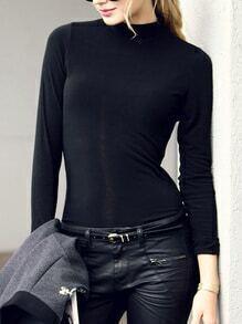 Long Sleeve Slim Black T-shirt
