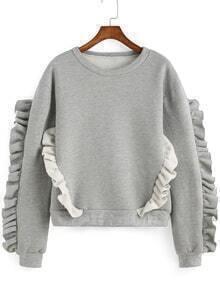 Round Neck Fungus Edge Grey Sweatshirt