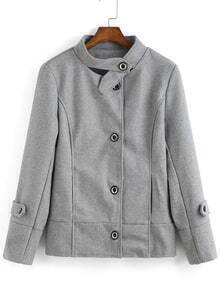 Stand Collar Buttons Slim Coat