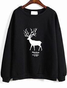 Deer Print Loose Black Sweatshirt