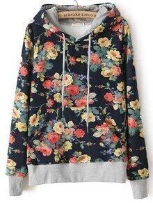 Hooded Flowers Print Sweatshirt