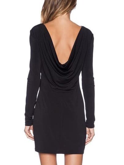 Long Sleeve Open Back Slim Black Dress