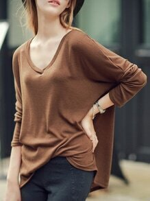 V Neck Loose Camel T-shirt