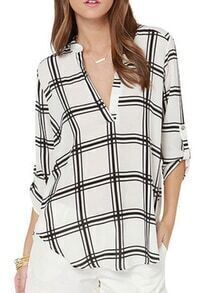 V Neck Plaid Chiffon Blouse