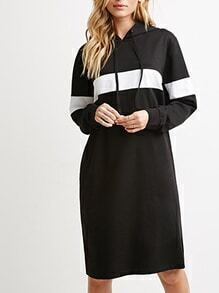 Hooded Striped Shift Black Dress