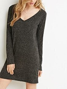 V Neck Long Sleeve Grey Sweater Dress