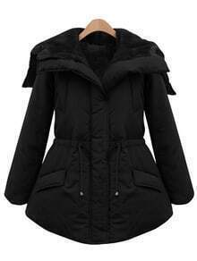 Lapel Drawstring Zipper Pockets Black Coat