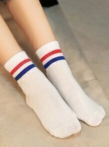 Striped White Socks