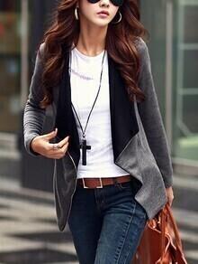 Lapel Zipper Slim Grey Coat