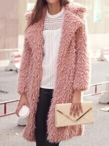 Lapel Pockets Long Pink Coat