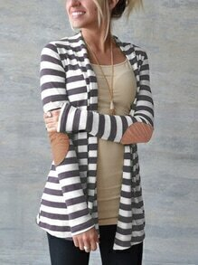 Striped Patch Long Coat