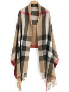 Khaki Plaid Tassel Casual Scarve