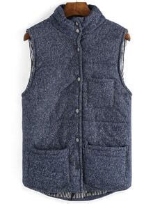 Stand Collar Pockets Buttons Vest