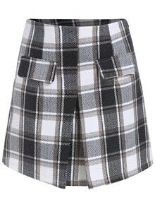 Plaid Pockets A-Line Skirt