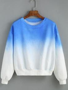 Round Neck Ombre Loose Blue Sweatshirt