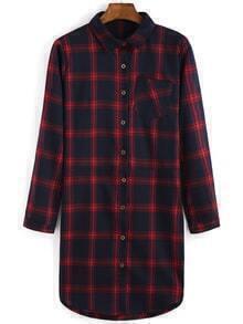 Plaid Pocket Shirt Red Dress