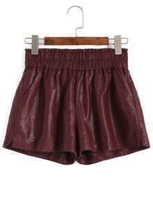 Elastic Waist Slit PU Shorts