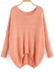 Dip Hem Dolman Pink Sweater