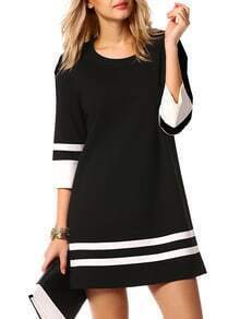 Round Neck Striped Straight Dress