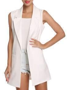 Lapel Slim Long White Vest