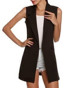 Lapel Slim Long Black Vest