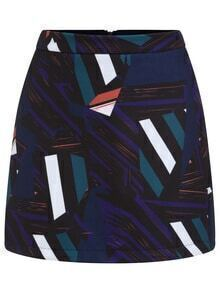 Geometric Print Zipper Purple Skirt