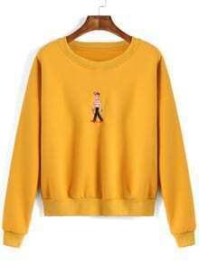 Cartoon Embroidered Loose Sweatshirt