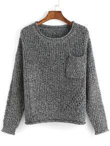 Round Neck Pocket Loose Grey Sweater