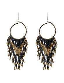 Bohemian Design Black Long Drop Small Beads Earrings