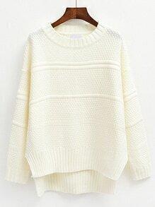 High Low Slit White Sweater