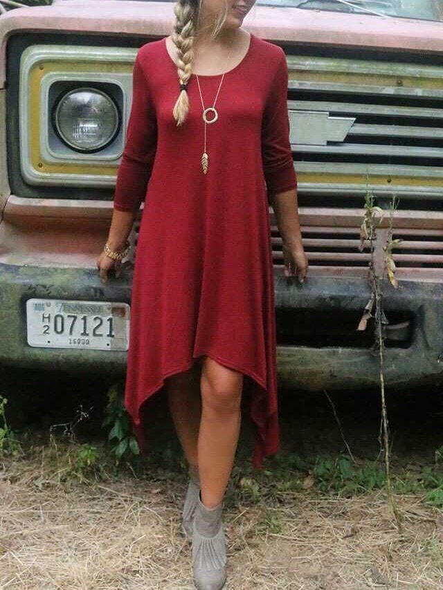 Long Sleeve High Low Red Dress - $12.00