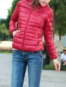 Hooded Zipper Slim Red Coat