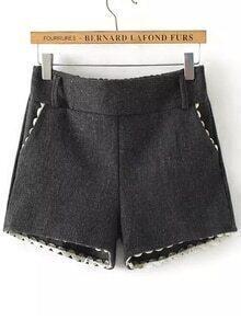 Elastic Waist Crochet Hem Black Shorts