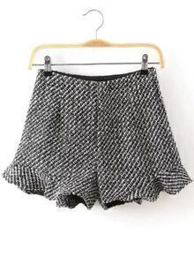 Plaid Ruffle Grey Shorts