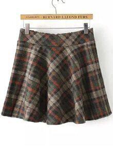 Elastic Waist Checkered Zipper Green Skirt