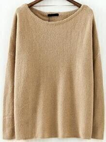 Boat Neck Loose Khaki Sweater