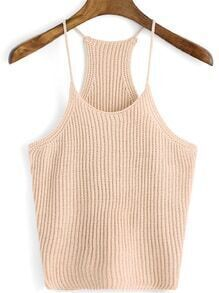 Spaghetti Strap Knit Pale Coffee Cami Top