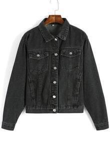 Lapel Pockets Denim Loose Jacket