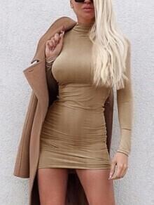 High Neck Long Sleeve Bodycon Dress