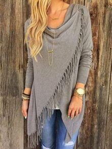 Draped Neck Button Tassel Grey Coat