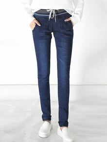 Elastic Waist Slim Denim Blue Pant