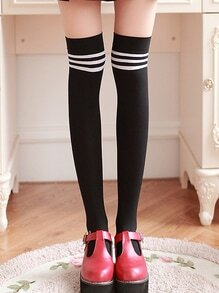 Striped Over The Knee Black Socks